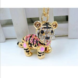 Crystal Pink Tiger Necklace (Moveable Parts)
